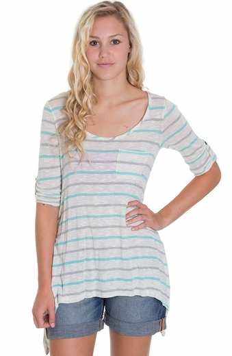 Blu Pepper Womens Stripe Top - Mint (Closeout)