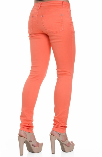 Blue Faith Womens Colored Skinny Jeans - Fresh Salmon