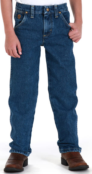 Boy's Wrangler George Straight Cowboy Cut Jeans (Sizes 1T-7) - Heavy Denim Stone