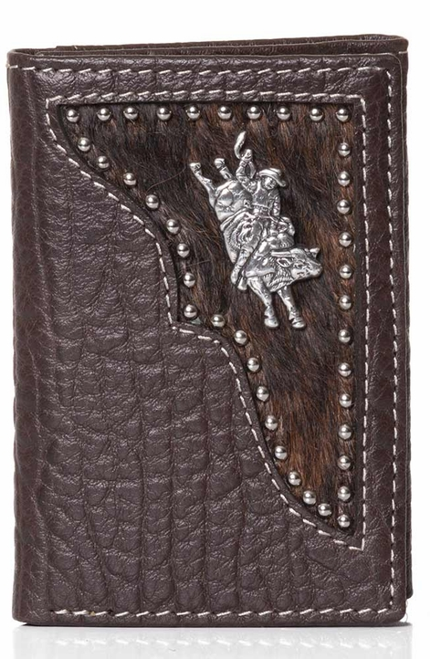 Bull Rider Mens Tri-Fold Wallet - Brown