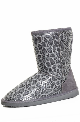 Chattie Girls Cheetah Sequin Safari Boot - Grey or Tan (Closeout)