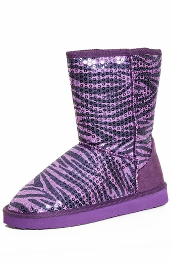 Chattie Girls Zebra Sequin Safari Boot - Purple or Black