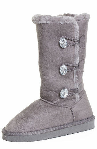 Chattie Toddler Girls Jeweled 3 Button Boot - Grey, Black, Tan, Pink, Purple or Fuchsia (Closeout)