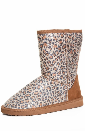 Chattie Womens Cheetah Sequin Safari Boots - Tan or Grey (Closeout)