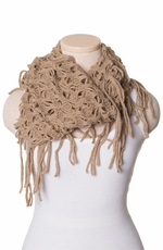 Chattie Womens Fringe Infinity Scarf - Khaki, Pink or Teal (Closeout)