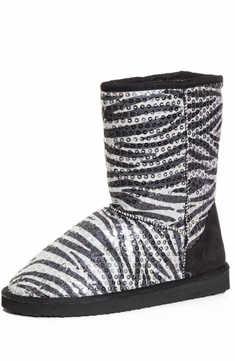 Chattie Womens Zebra Sequin Safari Boots - Black or Purple (Closeout)