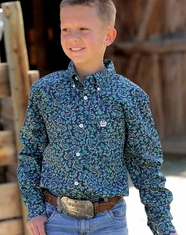 Cinch Boy's Long Sleeve Paisley Button Down Shirt - Navy