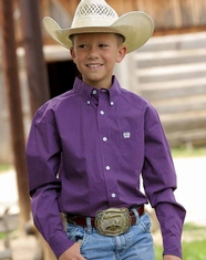 Cinch Boy's Long Sleeve Print Button Down Shirt - Purple
