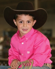 Cinch Boy's Long Sleeve Solid Button Down Shirt - Hot Pink