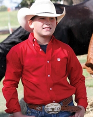 Cinch Boy's Long Sleeve Solid Button Down Shirt - Red