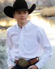 Cinch Boy's Long Sleeve Solid Button Down Shirt - White