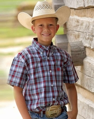 Cinch Boy's Short Sleeve Plaid Button Down Shirt - White