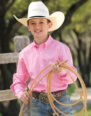 Cinch Boy's Solid Twill Button Down Shirt - Pink