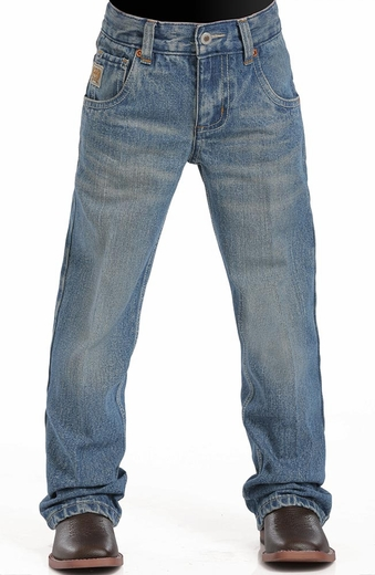 Cinch Boys Tanner Relaxed Fit Boot Cut Jeans (sizes 4-7) - Stonewash