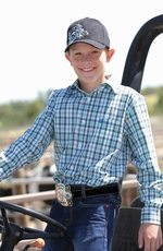 Cinch Boys Long Sleeve Plaid Button Down Western Shirt - Aqua