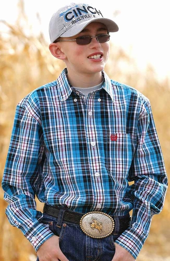 Cinch Boys Long Sleeve Plaid Button Down Western Shirt - Turquoise