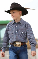 Cinch Boys Long Sleeve Plaid Snap Western Shirt - Navy (Closeout)