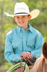 Cinch Boys Long Sleeve Print Snap Western Shirt - Blue