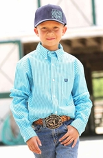 Cinch Boys Long Sleeve Printed Button Down Western Shirt - Blue