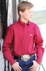 Cinch Boys Long Sleeve Printed Button Down Western Shirt - Red