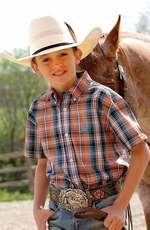 Cinch Boys Short Sleeve Plaid Button Down Western Shirt - Orange
