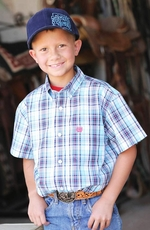 Cinch Boys Short Sleeve Plaid Button Down Western Shirt - White