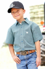 Cinch Boys Short Sleeve Printed Button Down Western Shirt - Aqua