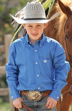 Cinch Boys Solid Twill Button Down Western Shirt - Blue (Closeout)