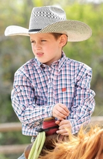 Cinch Toddlers Long Sleeve Plaid Button Down Western Shirt - White