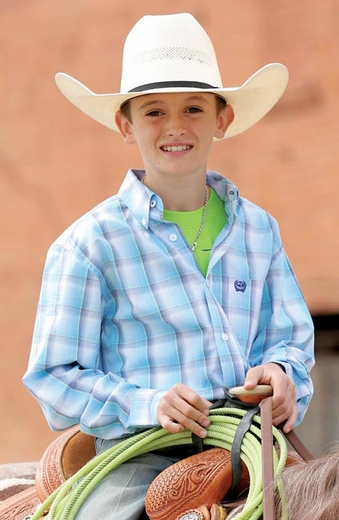 Cinch Boys Long Sleeve Plaid Button Down Western Shirt - Blue (Closeout)