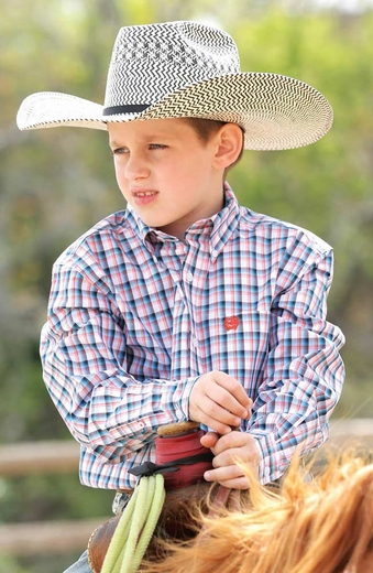 Cinch Boys Long Sleeve Plaid Button Down Western Shirt - White