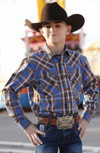 Cinch Boys Long Sleeve Plaid Snap Western Shirt - Brown (Closeout)