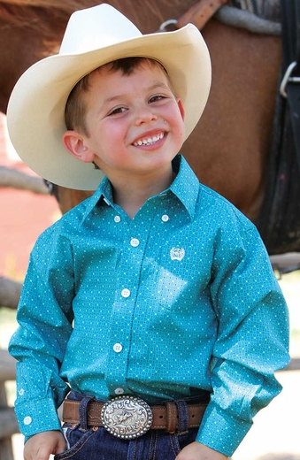 Cinch Boys Long Sleeve Print Button Down Western Shirt - Teal