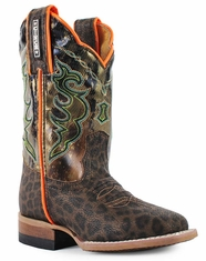 Cinch Children's Square Toe Leopard Print Boot- Brown