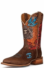 "Cinch Edge Men's ""Blue Bird"" Square Toe Cowboy Boots - Brown (Closeout)"