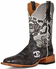 "Cinch Edge Men's ""Honorable"" Square Toe Cowboy Boots - Black/ Grey"