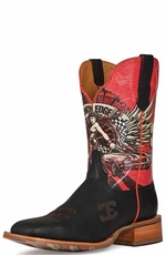 "Cinch Edge Men's ""Race Ready"" Square Toe Cowboy Boots - Black/Red"
