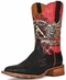 "Cinch Edge Men's ""Race Ready"" Square Toe Cowboy Boots - Black/Red (Closeout)"