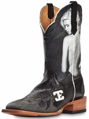 "Cinch Edge Mens ""Valencia"" Square Toe Cowboy Boots -  Black"