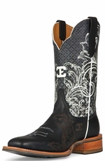 "Cinch Edge Women's ""Can't Stop Me"" Square Toe Cowboy Boots - Black/ White (Closeout)"