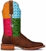 "Cinch Edge Women's ""Festival"" Square Toe Cowboy Boots - Brown/ Multi"
