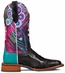 "Cinch Edge Women's ""Queenism"" Square Toe Cowboy Boots - Black/ Multi"