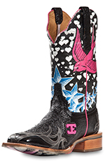 Cinch Edge Womens Stella Square Toe Cowgirl Boots - Black (Closeout)