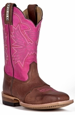 Cinch Kids Cowboy Boots with Saddle Vamp - Brown/Pink (Closeout)