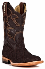 Cinch Kids Elephant Print Square Toe Cowboy Boots - Chocolate