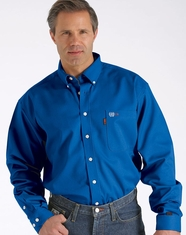 Cinch Men's Long Sleeve FR Long Sleeve Solid Button Down Work Shirt - Blue