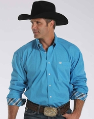 Cinch Men's Long Sleeve Printed Button Down Shirt - Blue (Closeout)