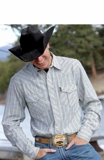 Cinch Men's Long Sleeve Slim Fit Plaid Snap Western Shirt - Multi (Closeout)