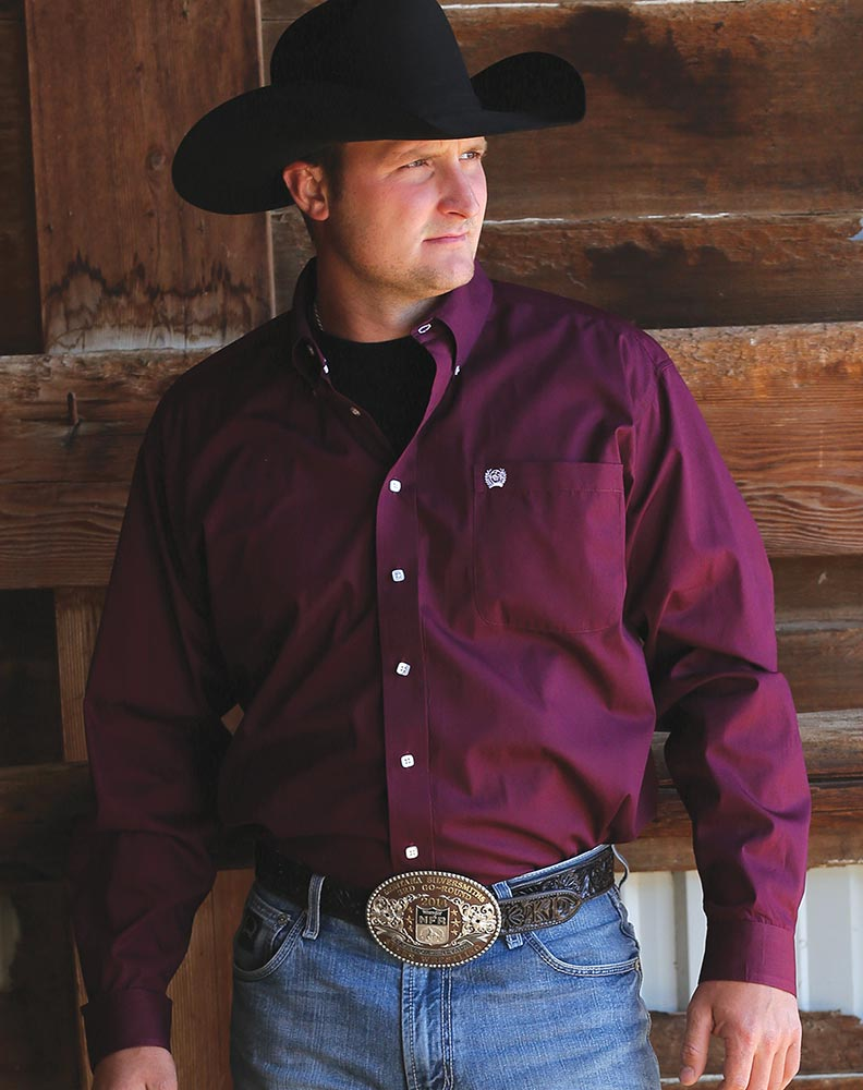 Men's Long Sleeve Solid Button Down Shirt - Burgundy