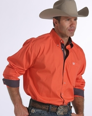 Cinch Men's Long Sleeve Solid Button Down Shirt - Coral